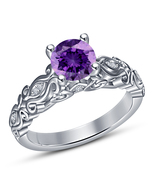 Purple Amethyst Womens Engagement Ring 14k White Gold Finish 925 Sterlin... - £54.19 GBP