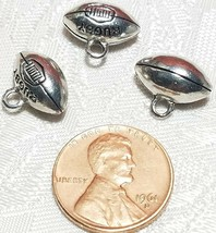 RUGBY FOOTBALL FINE PEWTER PENDANT CHARM - 13x11x7mm image 2