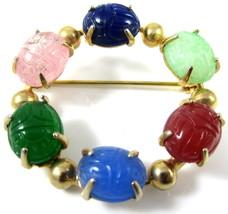 Vintage Egyptian Revival Gemstone Scarab Beetle Bugs Gold Toned Wreath P... - $42.56