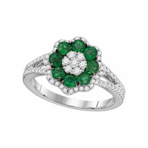 18kt White Gold Womens Round Emerald Diamond Flower Cluster Ring 1-1/4 Cttw - £1,748.05 GBP