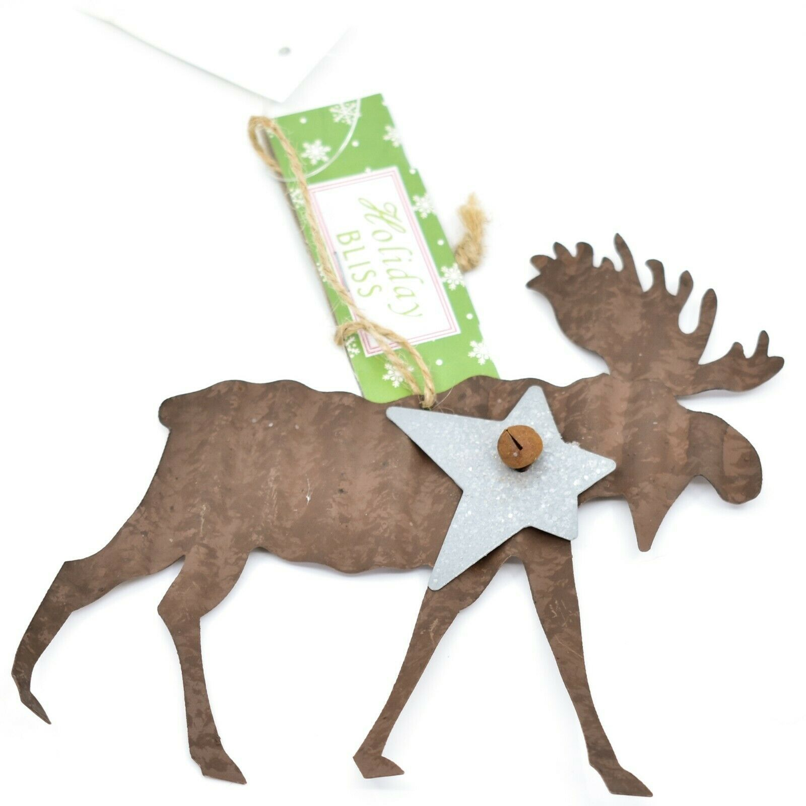 Holiday Bliss Rustic Metal Moose Christmas Ornament
