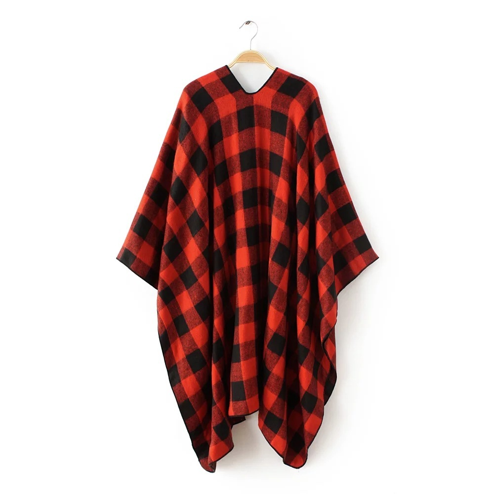 Red Plaid Women Capes Autumn Winter Bat Ponchoes Vintage Bohemian Cape Pullover