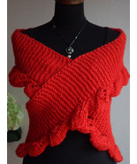 Red Knit Scarf, Chunky Scarf, Hand Knit Infinity Scarf, Women Scarf - $53.00