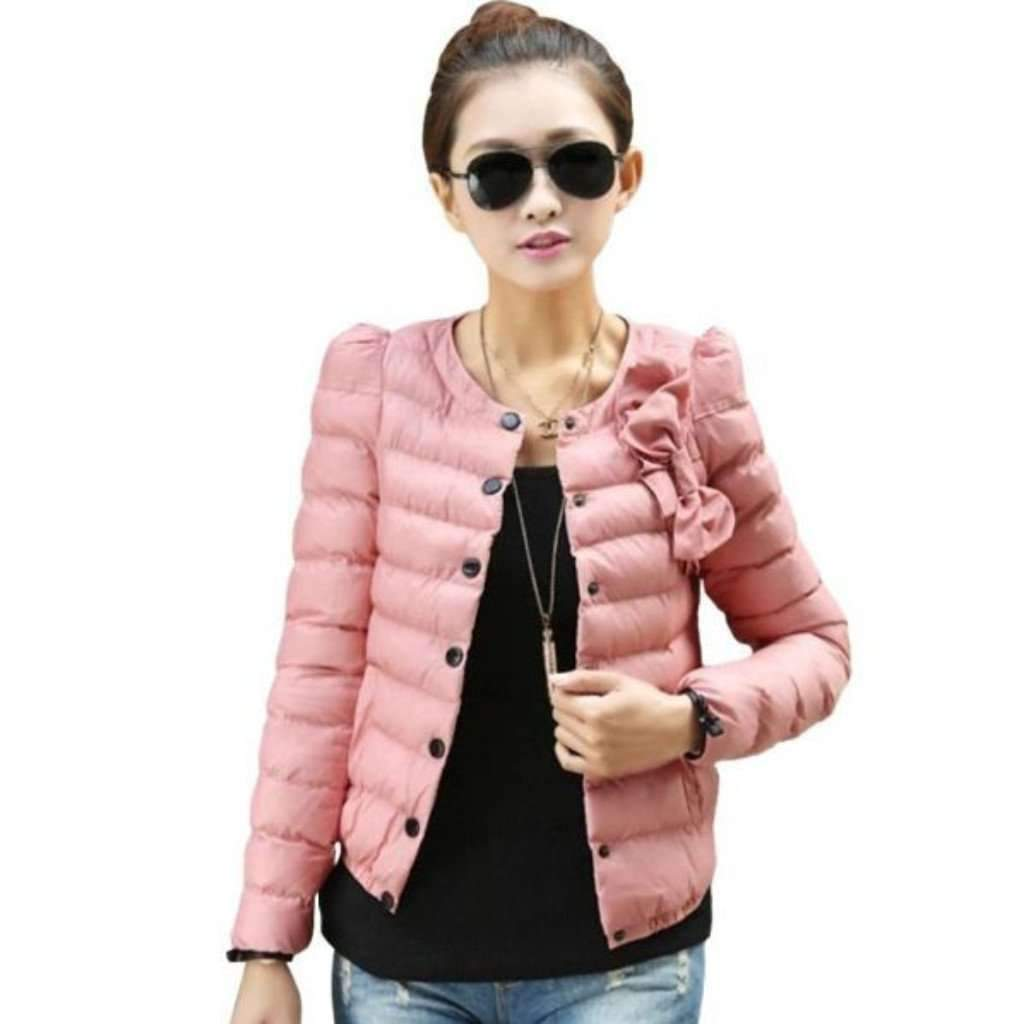 Less parka coats medium pink fashion padded single breasted women winter outerwear 1396394491935