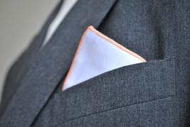 Frederick Thomas Blanc Poche Carré avec orange bordure mouchoir ft2156