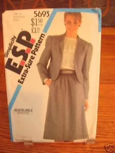 Simplicity 5963 Lined Jacket Skirt Misses 6-10 1982 Bonanza