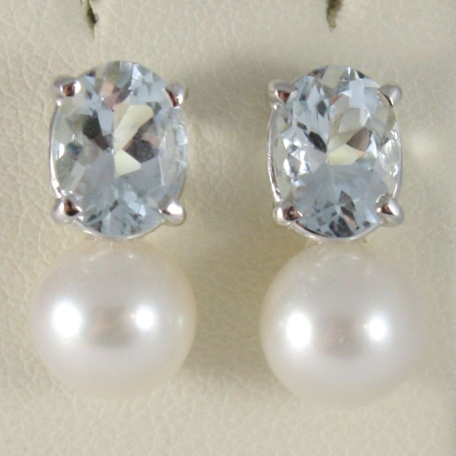 WHITE GOLD EARRINGS 750 18K WITH PEARLS WHITE AND AQUAMARINE CARAT 2.60