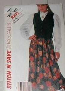 McCall's 2235 Vest and Skirt Misses 6-10 1985 Bonanza
