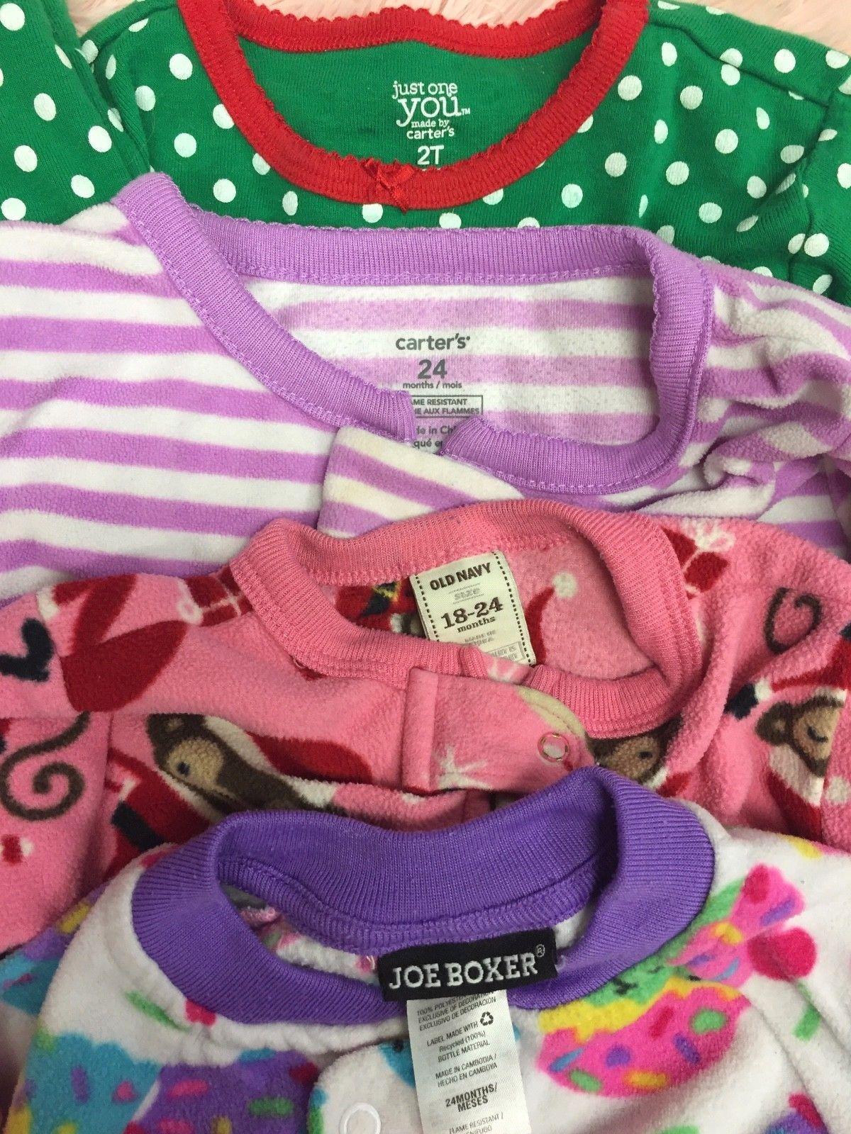 LOT OF 4 Carter's Baby Girls Fleece Sleepers Romper Pajamas 18-24M/2T Christmas