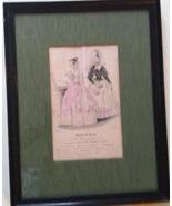 MODES DE PARIS vintage March 15, 1837 framed print French boudoir engrav... - $99.99