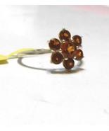 Rare Golden Brown Hessonite Garnet Round Floral Ring, Silver, Size 8, 2.... - $35.00