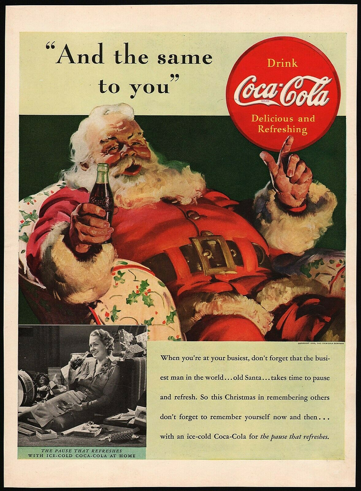 Primary image for Vintage magazine ad COCA COLA from 1939 picturing Santa Claus by Haddon Sundblom