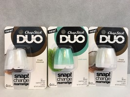 ChapStick DUO Fresh Coconut Cool Mint Snap Change Rearrange New 3 Packages - $8.60