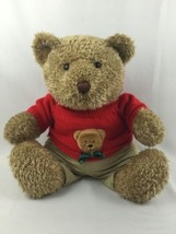 """16"""" Stuffed Plush Brown Teddy Bear in Red Sweater Snuggle Toy Gift Oversize - $19.60"""