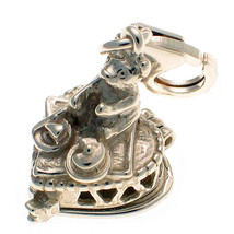 Teddy Bear Picnic Sterling 925 British Silver Lobster Clip Charm by Welded Bliss - $20.41