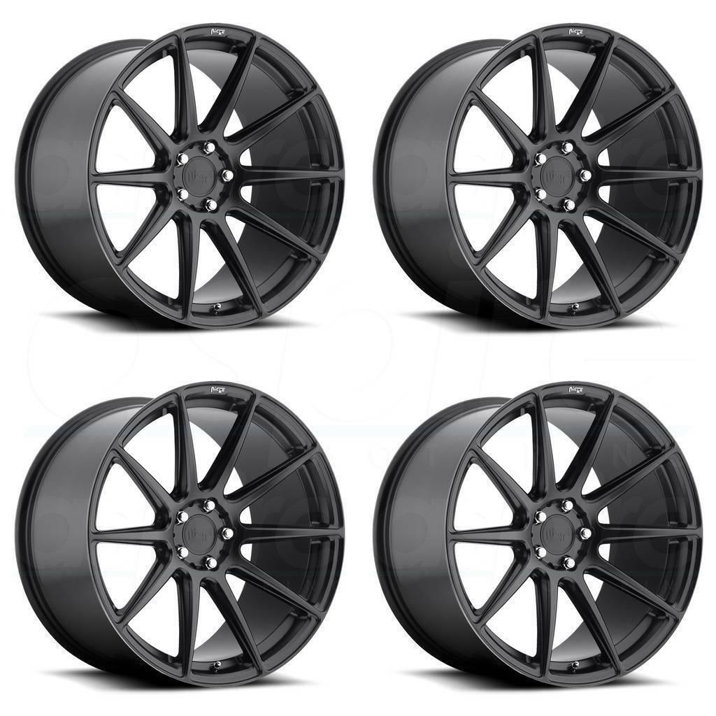 20x9 Niche Essen M147 5x112 38 Matte Black Wheels Rims Set