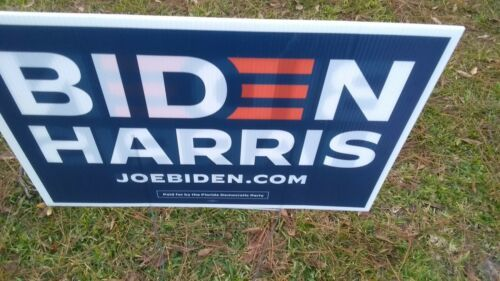 "Primary image for 2020 Political Campaign 24"" x 16"" Biden Harris Yard Sign w/ Stake double sided"