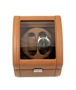 Bey Berk Tan Genuine Leather Double Watch Winder with Glass Display top ... - $229.95