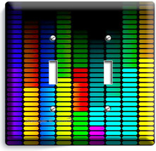 COLORFUL AUDIO EQUALIZER 2 GANG LIGHT SWITCH PLATES HOME ROOM MUSIC STUD... - $12.99