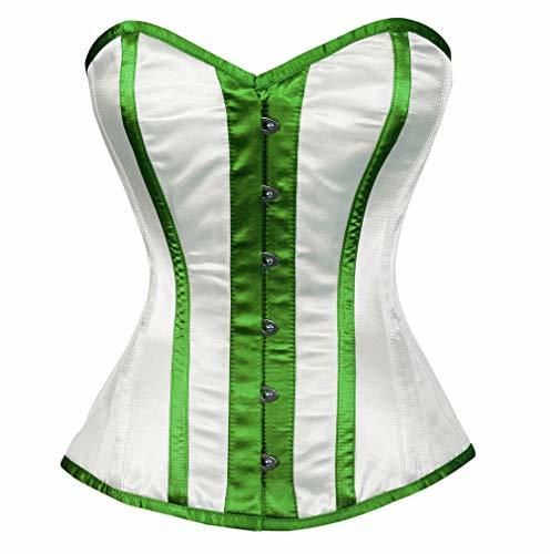 Primary image for White Satin Green Strips Gothic Burlesque Halloween Corset Costume 2019 Overbust