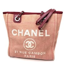 AUTHENTIC CHANEL Deauville Chain Shoulder Bag Tote Bag Red Canvas/Leathe... - $1,170.00