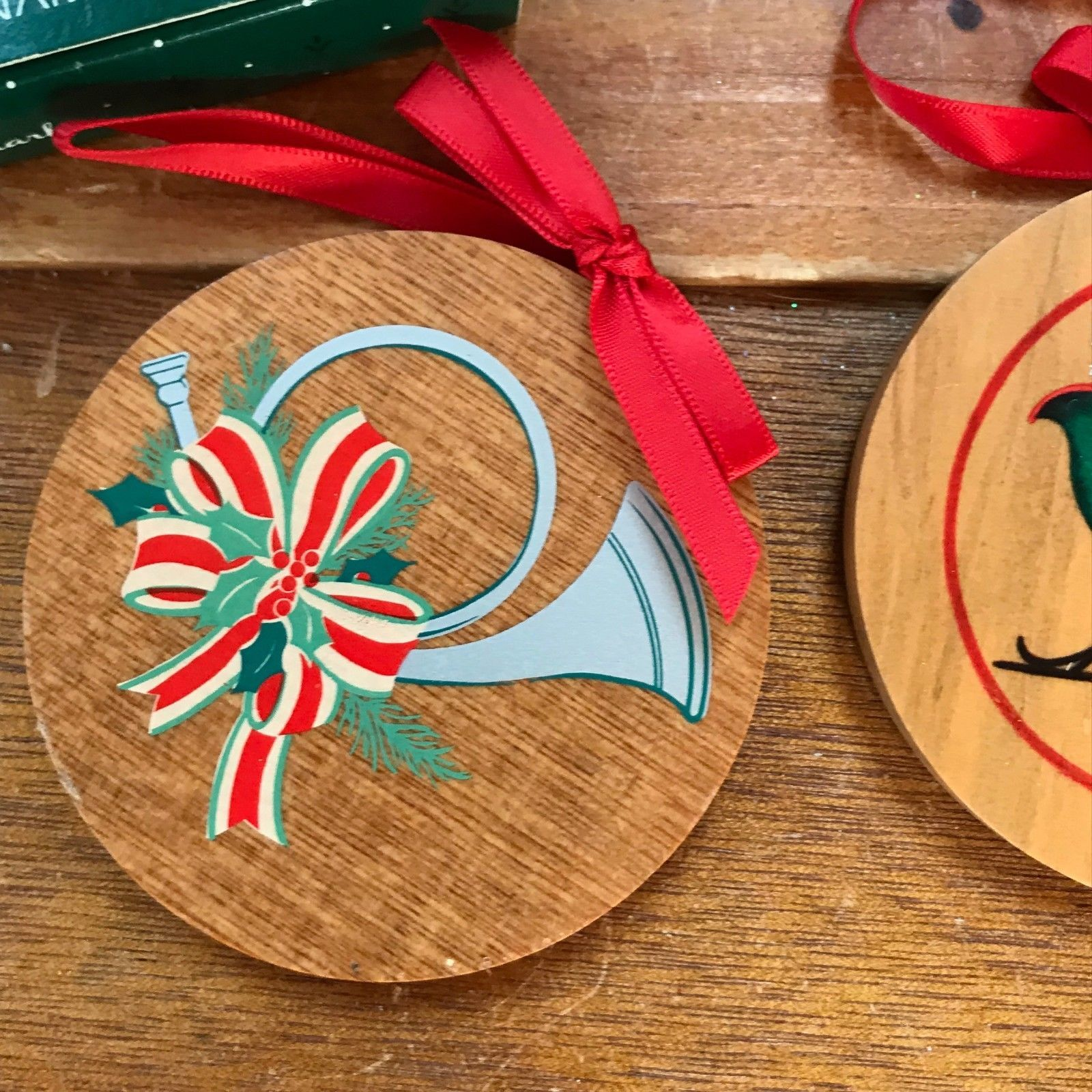 Vintage Lot of 2 Hallmark FATHER Painted Wood Round Christmas Tree Ornaments –