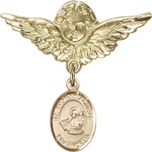 14K Gold Filled Baby Badge with St. Thomas Aquinas Charm Pin 1 1/8 X 1 1/8 inch - $107.08