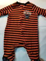 My First Halloween Orange/White/Black Striped Unisex Infant Sleeper Sz 0-3 - $8.99