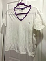 Ralph Lauren Sport XL White Cotton Knit Shirt Purple Trim Polo Pony 40x2... - $17.38