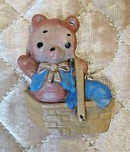 Vintage Teddy Bear Sitting in a Basket Ceramic Christmas Ornament - $3.15