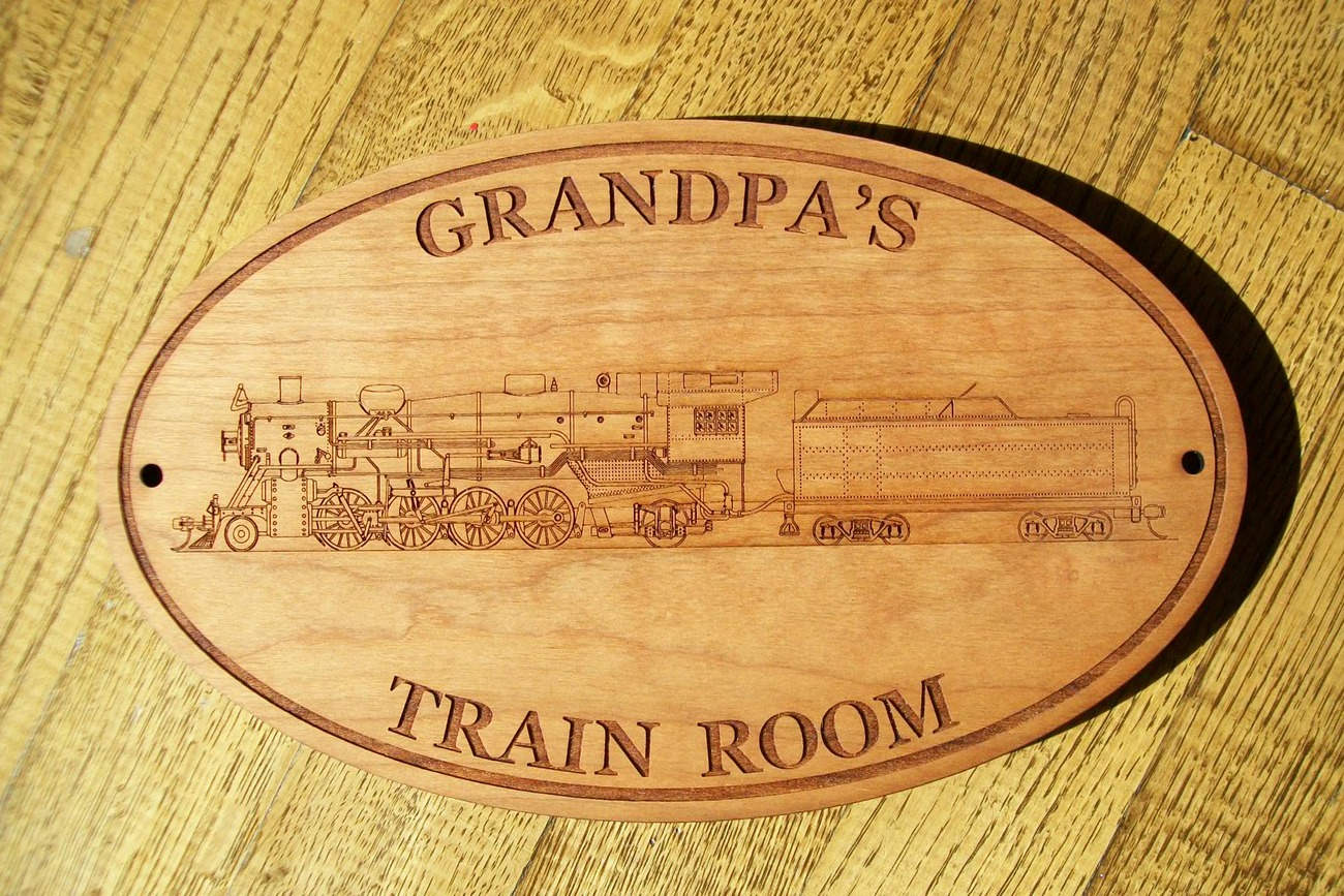 PERSONALIZED TRAIN ROOM WOODEN SIGN - Perfect for Grandpa, Dad, Mom,Unique Names
