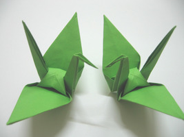 100 Large Green Color Origami Cranes - $25.00