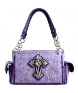 Concealed Carry Rhinestone Studded Cross Western Purse-Purple - $1.037,39 MXN