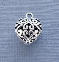 Lot 5 pcs Pendant Dangle Charm HEART Silver tone Jewelry finding DIY C105 - $3.19