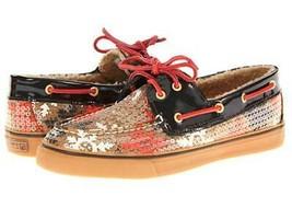 Women's Sperry Top Sider BAHAMA 2-Eye Boatshoe Sneaker Cognac Snow Sequin US 6.0 - $73.88 CAD