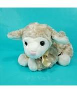 Lamb Baby Sheep Plush Stuffed Animal Curly Fur White Brown Easter Bell B... - $18.80