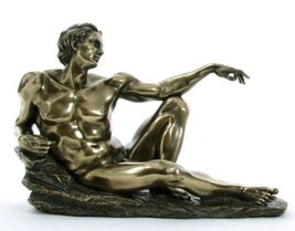STATUE OF ADAM From the Creation of Adam By Michelangelo, Real Bronze Powder Cas - $41.18