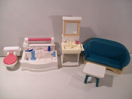 LOT OF FISHER PRICE LOVING FAMILY DOLLHOUSE BATHROOM FURNITURE COUCH TUB... - $14.65