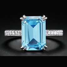 Rectangular Shape Aquamarine 14k White GP 925 Silver Solitaire With Acce... - $79.68