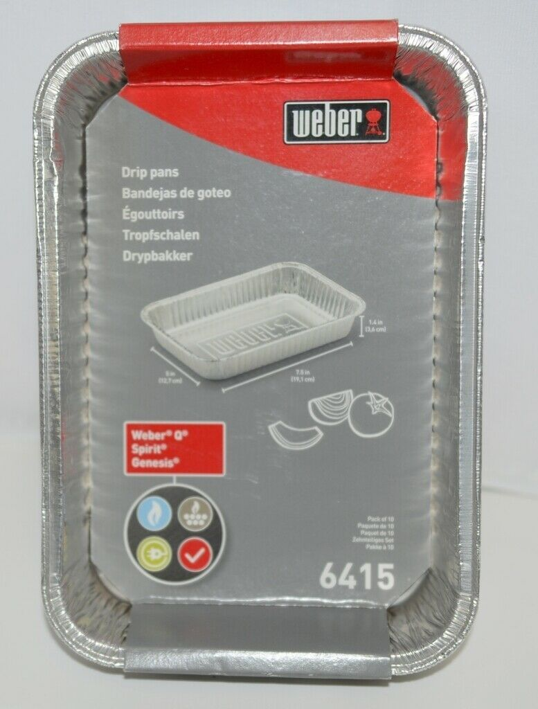 Weber 6415 Rectangular Foil Drip Pans Silver Color Set of 10