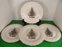 Nikko Happy Holidays Dinner Plate (S) Lot Of 4 Christmas Tree Scalloped Rim - $49.45