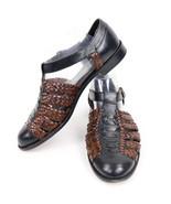 """Cole Haan Womens Sandals Woven Brown Black Round Toe 1"""" Heel Adjustable 11 - $32.79"""