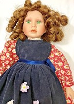 Porcelain Cute Doll Green Eyes Curly Hair Red Brown Floral Dress Navy Apron - $54.44