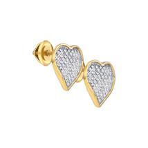 Yellow-tone Sterling Silver Diamond Heart Love Screwback Fashion Earrings 1/6 - $72.00