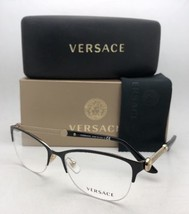 VERSACE Rx-able Eyeglasses MOD 1228 1291 53-17 Black & Gold Cat Eye Semi Rimless