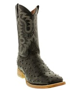 Mens Black Ostrich Quill  Pattern Leather Western Wear Cowboy Boots Squa... - €92,80 EUR