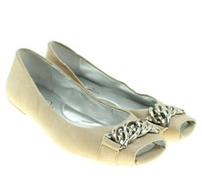Jessica Simpson MENDELA Womens Beige Suede Leather Peep Toe Ballet Flats 6M - $16.93