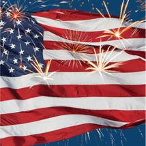 Firework Finale Flag Beverage Napkins 16 Ct 4th July Stars Stripes Cocktail - £2.79 GBP