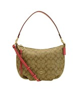 NWT COACH Small Skylar Hobo Canvas Logo Shoulder Khaki Poppy Coral Gold ... - $123.75