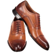 Men's Leather Brogue Shoes, Genuine Leather Handmade Formal Men's Shoes - $159.99 - $179.99